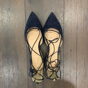 J. Crew Women's Suede Lace-Up Pointed Toe Flats